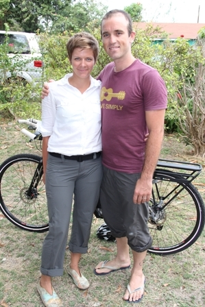 Cyclist Ms. Kristina Storey and Mr. Nick Arney of Australia who will launch their world tour from Nevis April 1st, 2012 at the Lime Beach Bar at Pinneys Beach and will conclude in February 2013 in Nevis