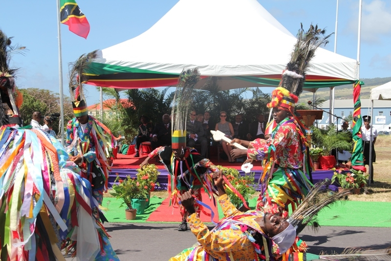 Nevis masqueraders dancing for the Royals