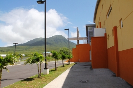 The iconic Nevis Performing Arts Centre with Nevis Peak in the distance