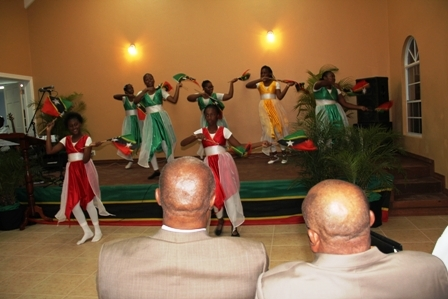 Premier of Nevis and Area Representative Hon. Joseph Parry and Deputy Premier and Minister of Social Development Hon. Hensley Daniel look on at a dance production by Jessups Village youths