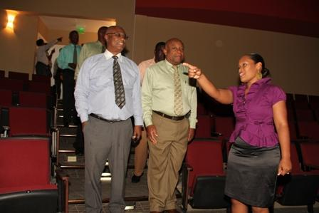 Premier of Nevis Hon. Joseph Parry, Deputy Premier and Minister of Culture Hon. Hensley Daniel as they entered the auditorium of the Nevis Performing Arts Centre while on a Cabinet tour of the facility. They were led on the tour by (right) General Manager of the Nevis Performing Arts Centre Mrs. Deslyn Williams-Johnson