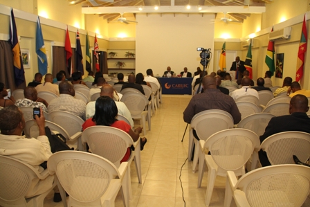 Persons present at the opening ceremony and subsequent cocktail reception at the start of the two day conference hosted by the Caribbean Electric Utility Service Corporation at the Mount Nevis conference room