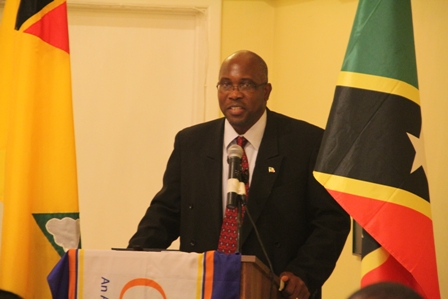 Minister responsible for Public Utilities on Nevis Hon. Carlisle Powell delivering the key note address at the 2012 Occupational Health and Safety Conference hosted by the Caribbean Electric Utilities Services Corporation at the Mount Nevis conference room