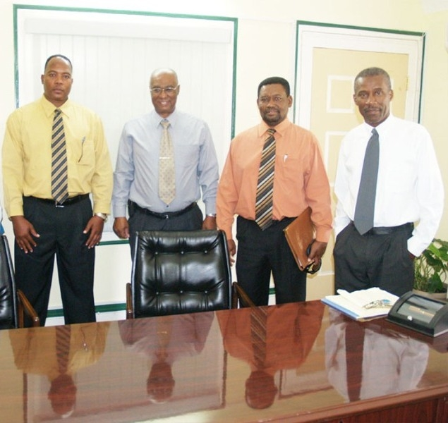 Premier of Nevis, Hon. Joseph Parry met with officials of the Development Bank. From left is the General Manager Mr Lenworth Harris, Premier Parry, Bank Director Dr Telbert Glasgow, and Cabinet Secretary Mr Ashley Farrell