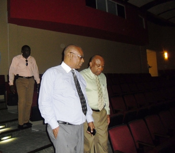 Premier of Nevis, Hon. Joseph Parry and Hon. Hensley Daniel touring the Performing Arts Center