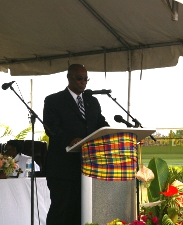 Premier of Nevis, Hon. Joseph Parry speaking at the Funeral