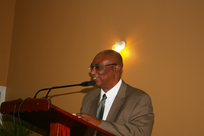 Premier of Nevis, Hon. Joseph Parry making brief remarks at the opening of the Jessups Community Center