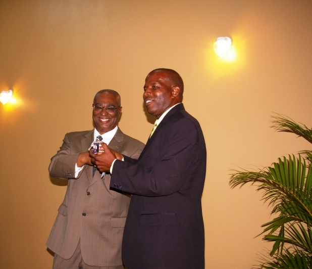Premier Parry receiving keys from Jessups Community Center Contractor, Mr. Rudolph Nisbett