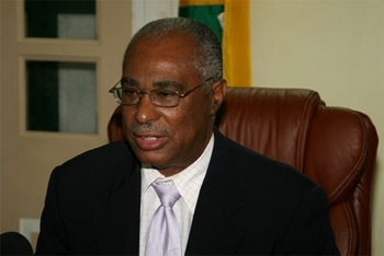 Premier of Nevis, Hon. Joseph Parry at his Bath Hotel office