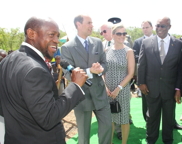 Prime Minister of St.Kitts-Nevis, the Rt. Hon. Dr. Denzil Douglas, Earl and Countess of Wessex Prince Edward, Princess Sophie and Premier of Nevis, the Hon. Joseph Parry