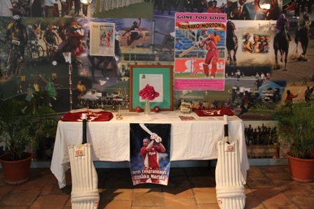 A tribute to fallen Nevisian cricketer Runko Morton at the Sports Museum in Charlestown
