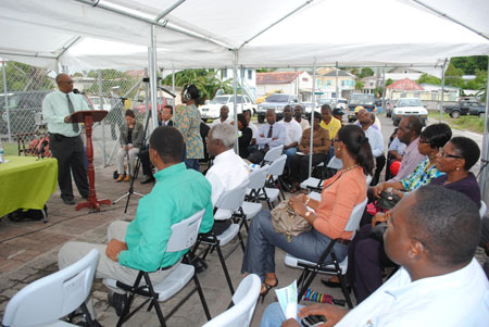 Premier, Hon. Joseph Parry addressing audience at signing ceremony of Nevis Fisheries development