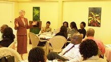 Consultant, Dr. Julia Hockey addressing the workshop participants