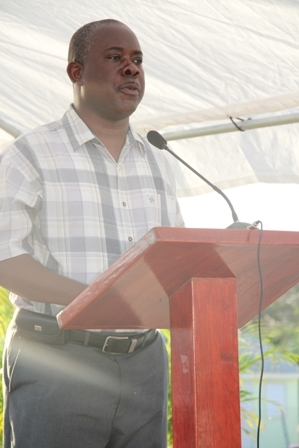 Area Representative for the St. Pauls Parish Hon. Robelto Hector delivering remarks at the official handing over of the ultra modern cafeteria to the Charlestown Primary School on April 25, 2012