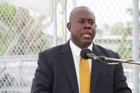 Minister of Agriculture and Fisheries in the Nevis Island Administration Hon. Robelto Hector delivering remarks at the Grant Signing and Notes Exchange Ceremony at the Charlestown waterfront in Gallows Bay on April 27, 2012