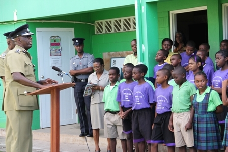 Commissioner of Police in the Royal St. Christopher and Nevis Police Force Celvin G. Walwyn addressing Grade 5 and 6 students at the Joycelyn Liburd Primary School in Gingerland. Principal Mrs. Marion Lescott (front left) and other members of her staff were also in attendance