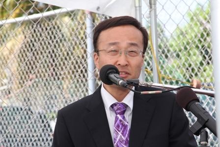 Chief Representative of the Japan International Cooperation Agency (JIAC) Mr. Shoji Ozawa delivering remarks at the Grant Signing and Exchange of Notes ceremony between the Governments of Japan and St. Kitts and Nevis for the Charlestown Community Fisheries Complex at Gallows Bay on April 27, 2012