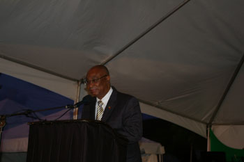 Premier of Nevis, Hon. Joseph Parry making the Feature Address