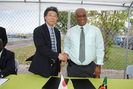 Premier of Nevis, Hon. Joseph Parry shaking hands with Japanese Ambassador-designate to St. Kitts and Nevis, His Excellency, Yoshimasa Tezuka