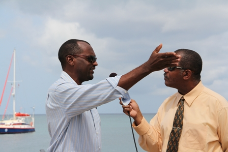 Permanent Secretary in the Ministry of Agriculture in the Nevis Island Administration Dr. Kelvin Daly being interviewed recently by host of Eye on Agriculture on NTV channel 8 Mr. Eric Evelyn