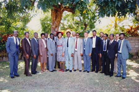 (5th from left) First Premier of Nevis the late Hon. Simeon Daniel and sitting Premier (6th from right) Hon. Joseph Parry together with members of the Federal Government and the Nevis Administration (photo provided by family) including (2nd from left) Prime Minister Hon. Kennedy Simmonds
