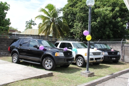The three Ford Explorer jeeps donated to the Nevis Division of the Royal St. Christopher and Nevis Police Force by Four Seasons Resort Home Owners