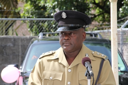 Officer in charge of the Charlestown police Station Inspector Trevor Mills delivering welcome remarks at the handing over ceremony of vehicles to the Royal St. Christopher and Nevis Police Force Nevis Division. He also served as chairperson for the occasion