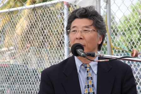 Japanese Ambassador Mr. Yoshimasa Tezuka delivering remarks at the Grant Agreement and Exchange of Notes signing ceremony at Gallows Bay in Charlestown on April 27, 2012