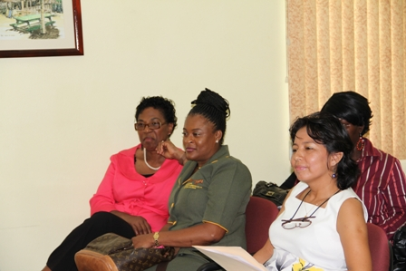 (L-R) Former Permanent Secretary in the Ministry of Health on Nevis Mrs. Joslyn Liburd, Office Administrator at the Virgin Islands Oncology and Hematology PC and Gynaecologist and Cancer Care Advocate on Nevis Dr. Jessica Bardales