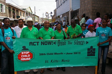 Premier of Nevis, Hon. Joseph W. Parry with Nevis Island Cabinet members leading the Child Month March