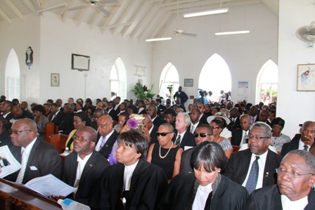 Attendees of the funeral inside the church