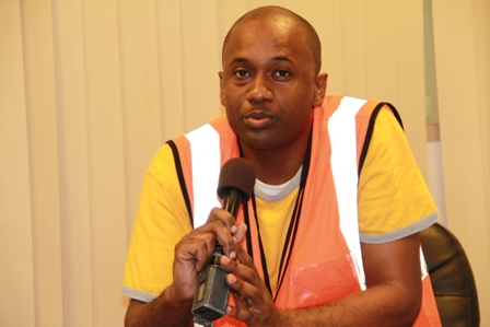 Fire Sub Officer attached to the Newcastle Fire Station and Fire and Rescue Executive Coordinator in the St. Kitts and Nevis Fire and Rescue Services Mr. Adbias Samuel who masterminded the simulation exercise at the Airport in Newcastle