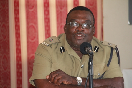 Officer in Charge of the Royal St. Christopher and Nevis Police Force, Nevis Division Superintendent Hilroy Brandy at a press conference to launch Culturama 2012 at the Red Cross conference room, hosted by the 2012 Culturama Committee