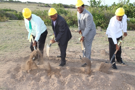 Breaking ground for the New River Medical centre (l-r) Premier of Nevis Hon. Joseph Parry, Minister of Health Hon. Hensley Daniel, Chief Executive Officer of Princeton Health Care Incorporated based in Atlanta, Georgia Mr. Don. Williams and Nevisian Medical Doctor Glenville Liburd