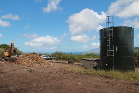 Ongoing preparatory work at the Spring Hill site for a 500,000 gallon reservoir next to the existing 20,000gallon reservoir. The new storage facility will be one of four to be constricted under the EC$30million Nevis Water Enhancement Project, funded by the Caribbean Development Bank