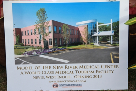 Computer generated model of the world class New River Medical Centre to be constructed on Nevis
