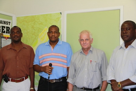(L-R) Permanent Secretary in the Ministry of Agriculture Dr. Kelvin Daly, St. Kitts Fisheries Officer Mr. Sam Heyliger, European Union Consultant in Tropical Aquaculture Mr. Niels Svennevig and Minister of Agriculture in the Nevis Island Administration Hon. Robelto Hector at the end of their planning meeting at Prospect