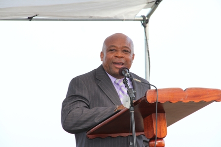 Health Minister on Nevis Hon. Hensley Daniel delivering remarks at the ground breaking ceremony for the New River Medical Centre