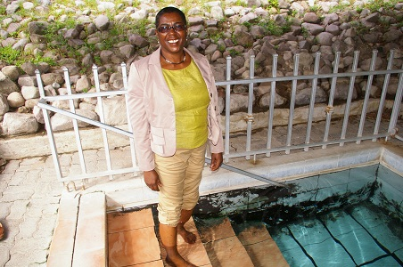 Councilor of the SIDF-Dr. Hermia Morton Anthony enjoying the Bath Spring pool