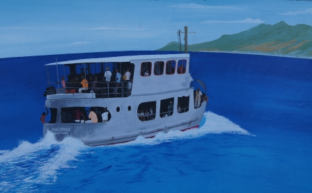 An artist's impression of the MV Christena on a voyage from Nevis to St. Kitts on a memorial at the Bath Cemetery
