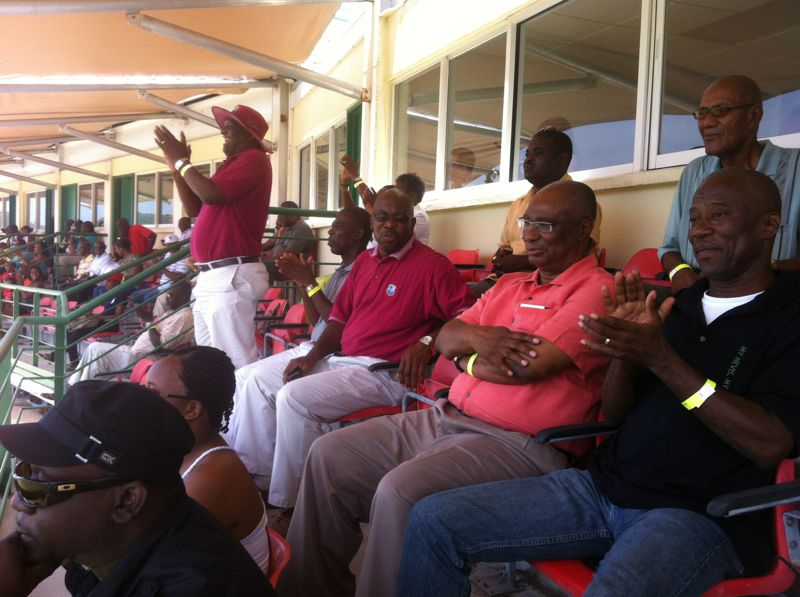 (2nd Row, L-R) Minister of Communications and Works, Hon. Carlisle Powell, Premier of Nevis, Hon. Joseph Parry and Cabinet Secretary in the Nevis Island Administration, Mr. Ashley Farrell watching cricket at Warner Stadium in St.Kitts