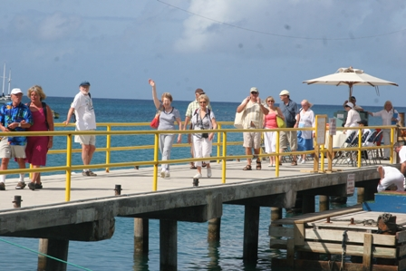 Cruise visitors dock at the finger pier in Charlestown (file photo)