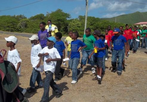 VOJN students taking part in walk-a thon