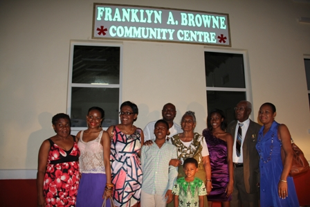 Mr. Brown and his wife Lorraine savour the moment with family their family moments after they unveiled the new name of the community centre at Combermere