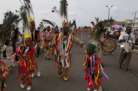 Masqueraders during the Parade of troupes