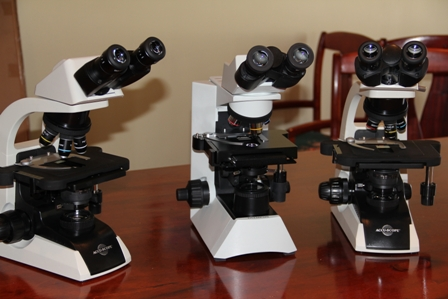 The three microscopes, a gift from the Charlestown Seven Day Adventist Church valued at $15,000 presented to the Ministry of Health for use at the Alexandra Hospital's Laboratory in the delivery of its diagnostic services