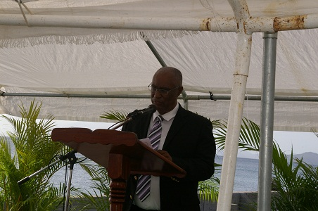 Premier of Nevis, Hon. Joseph Parry making remarks during the memorial service