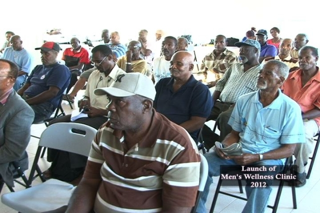 A section of men in attendance at the launch of the Men's Wellness Clinic at Combermere Village in the Parish of St. James