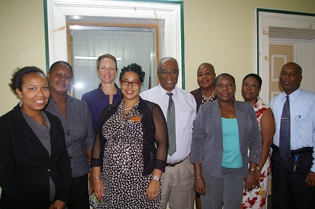 Premier of Nevis, Hon. Joseph Parry along with the delegation from the United States Embassy (Barbados), members of the Nevis Community Affairs Department and Barbados-based organization officers