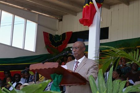 Premier of Nevis, Hon. Joseph Parry delivering his address during the 29th Independence Ceremony